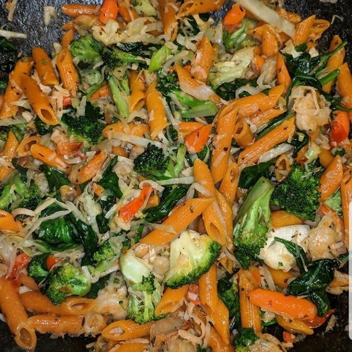 veggie penne rigate with broccoli and coconut