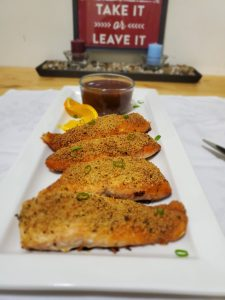 Cooked salmon fish with Parmesan cheese