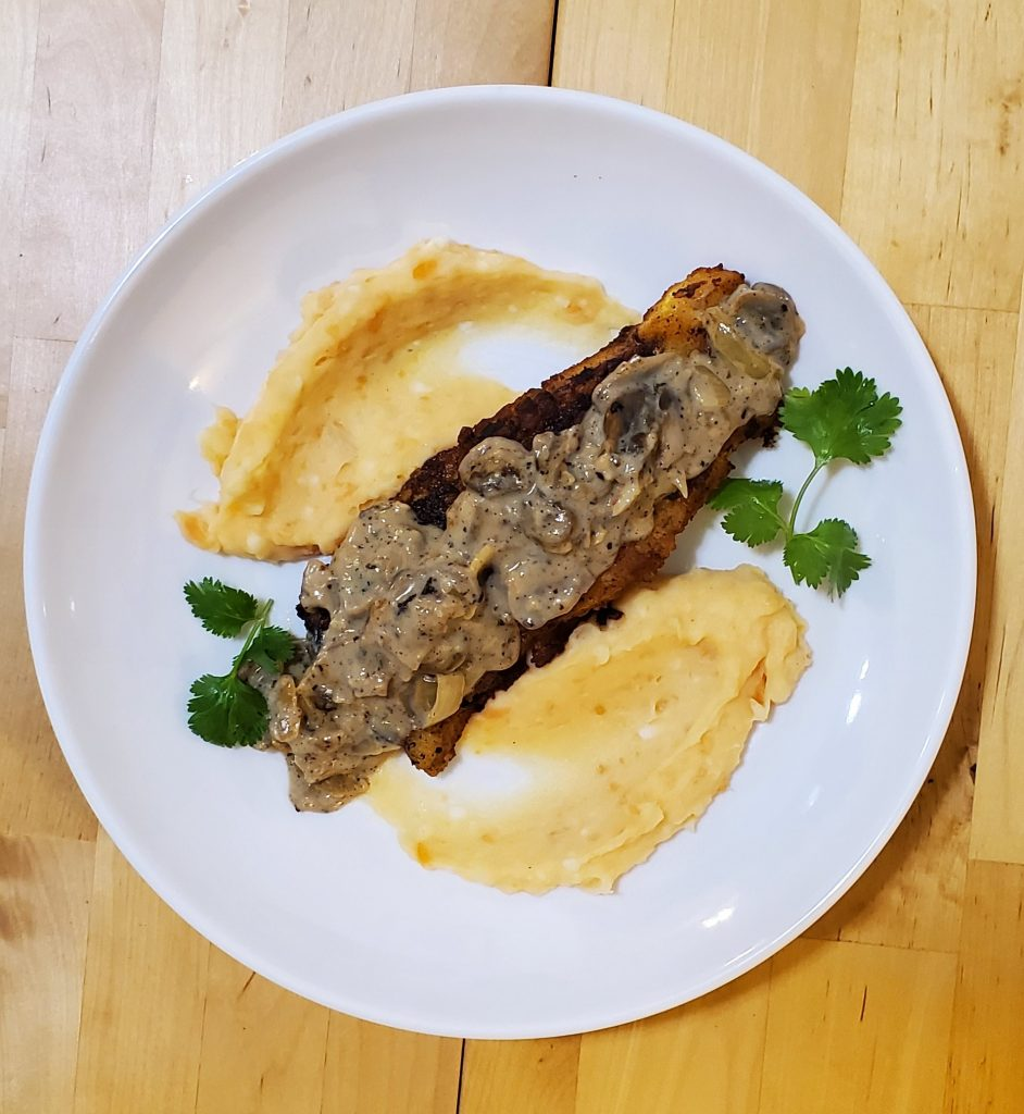 pollock fish with creamy mushroom sauce
