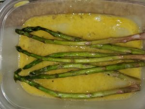 Asparagus in egg mixture