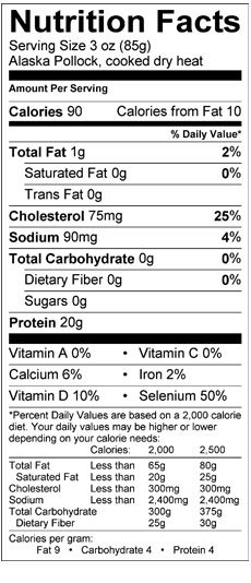 nutrition facts of pollock