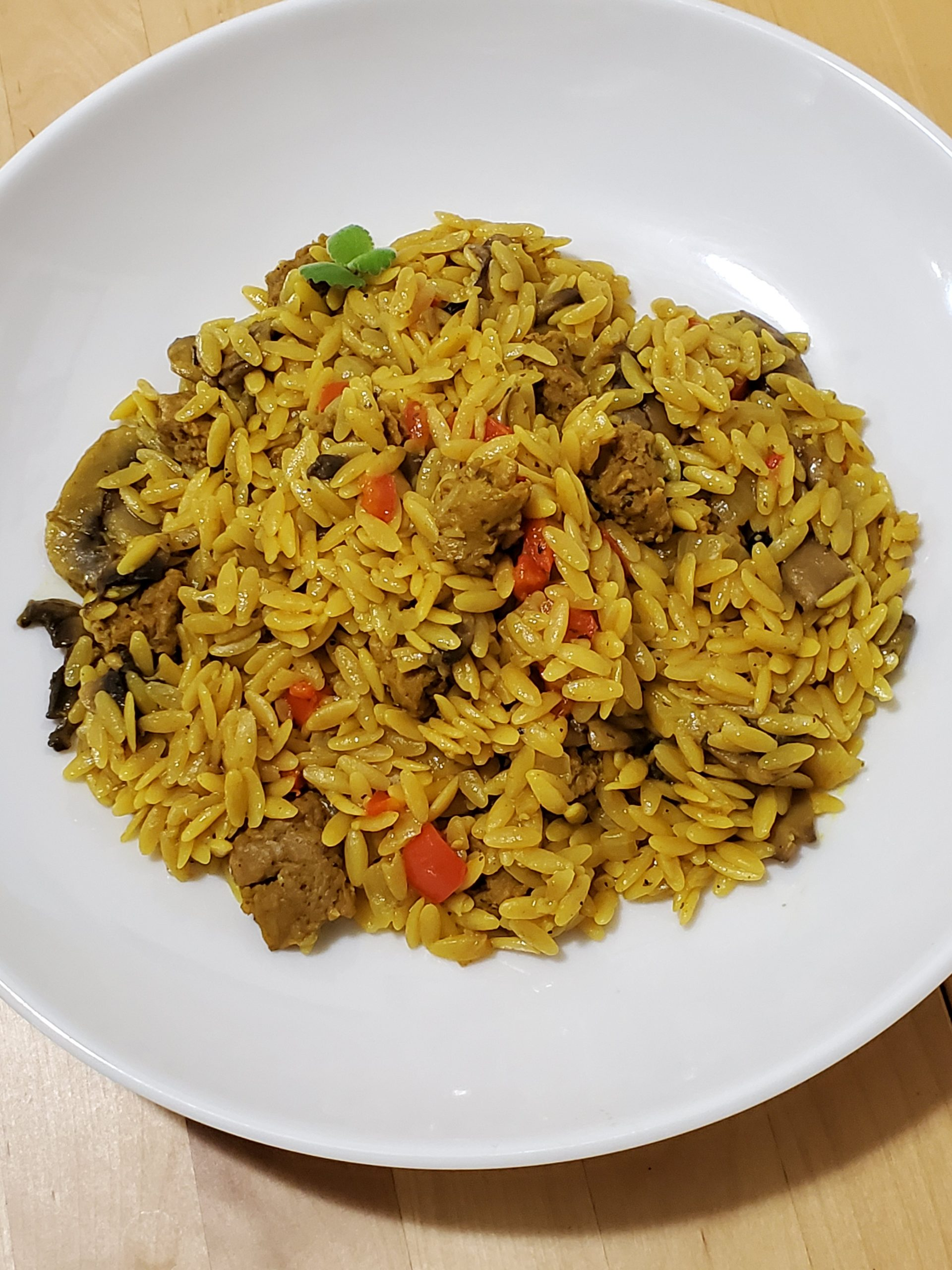 vegan spicy sausage with orzo pasta